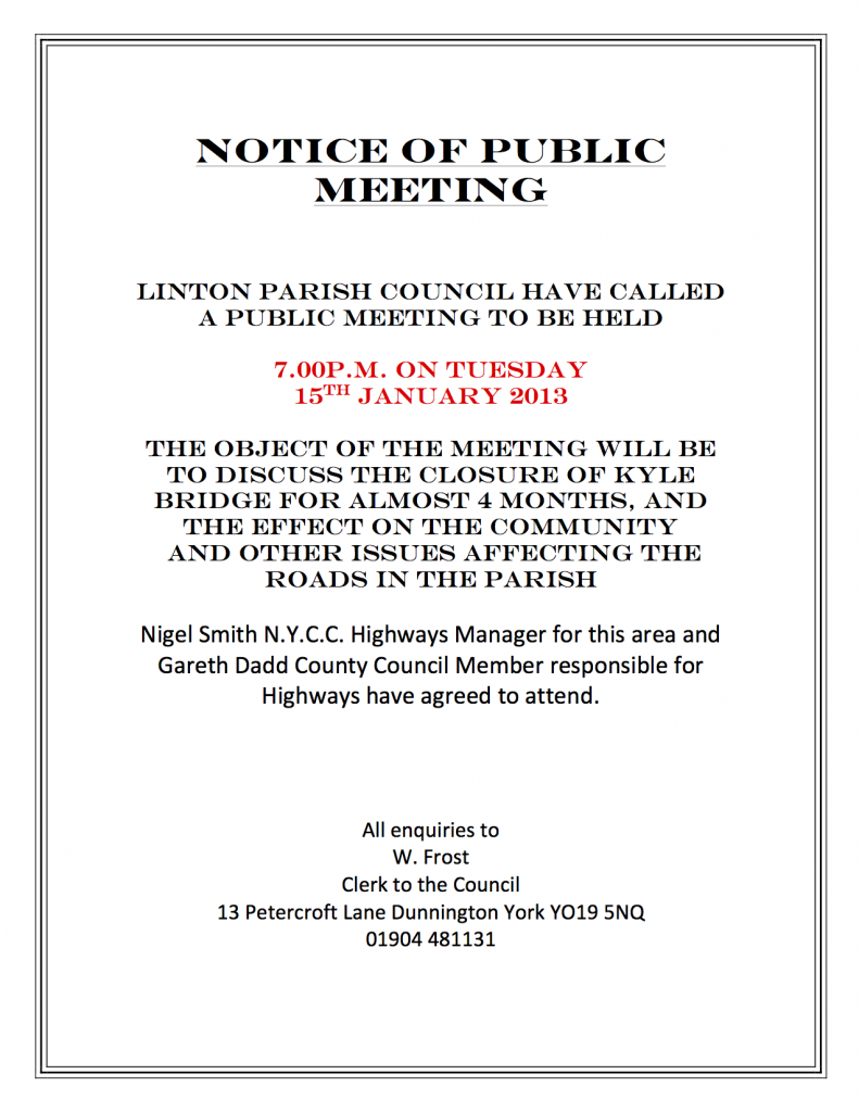 Notice of public meeting linton on ouse public meeting notice 150112 spiritdancerdesigns Gallery